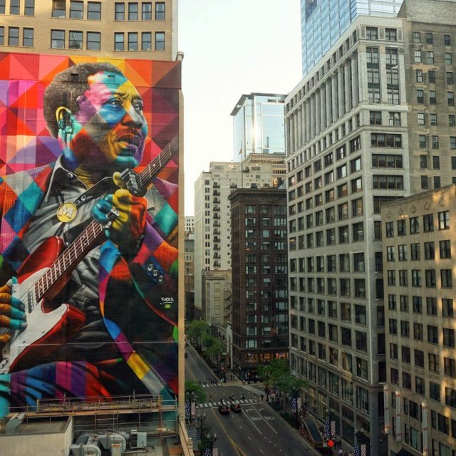 Chicagos MuddyWaters mural at 17 N State St is largerhellip