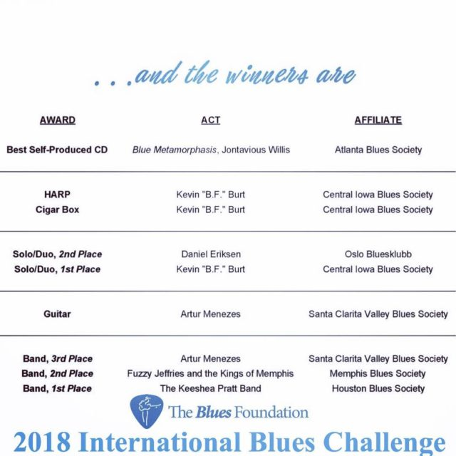 ICYMIHere are the 2018 International Blues Challenge winners!